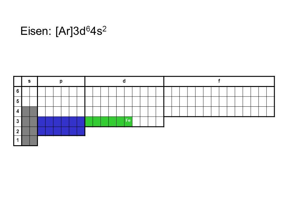 Eisen: [Ar]3d64s2 s p d f 6 5 4 3 Fe 2 1